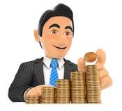τρισδιάστατος επιχειρηματίας που βάζει ένα νόμισμα στη σκάλα χρημάτων Κύρια αύξηση Στοκ Εικόνα