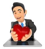 τρισδιάστατος επιχειρηματίας που βγαίνει μια οθόνη lap-top με μια κόκκινη καρδιά Στοκ εικόνες με δικαίωμα ελεύθερης χρήσης