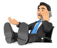 τρισδιάστατος επιχειρηματίας που μιλά στο κινητό τηλέφωνο με τα πόδια επάνω ελεύθερη απεικόνιση δικαιώματος