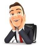 τρισδιάστατος επιχειρηματίας στην αφηρημάδα γραφείων απεικόνιση αποθεμάτων