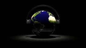 τρισδιάστατος λεπτομερής έννοια διανυσματικός κόσμος μουσικής γήινων ακουστικών υψηλός Απεικόνιση αποθεμάτων