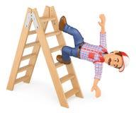 τρισδιάστατος εργαζόμενος που πέφτει από μια σκάλα Εργατικό ατύχημα Στοκ Εικόνες