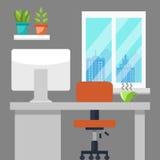 τρισδιάστατος εργασιακός χώρος γραφείων εικόνας απεικονίσεων Στοκ εικόνα με δικαίωμα ελεύθερης χρήσης