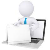 τρισδιάστατος λευκός από τον υπολογιστή που κρατά ένα ημερολόγιο Στοκ εικόνα με δικαίωμα ελεύθερης χρήσης