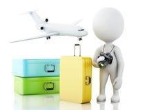 τρισδιάστατος λευκός τουρίστας ανθρώπων με τις βαλίτσες ταξιδιού Στοκ Εικόνες