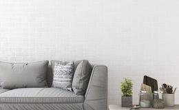 τρισδιάστατος ελάχιστος καναπές απόδοσης κοντά στο τουβλότοιχο και το ντεκόρ Στοκ Φωτογραφίες