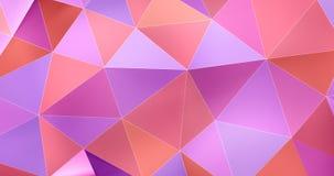 τρισδιάστατος ζωηρόχρωμος αφηρημένος γεωμετρικός βρόχος υποβάθρου κινήσεων επιφάνειας πολυγώνων 4k διανυσματική απεικόνιση