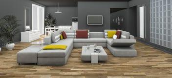 τρισδιάστατος ζωηρόχρωμος καναπές απόδοσης που τίθεται με το δωμάτιο ύφους σοφιτών Στοκ Εικόνες