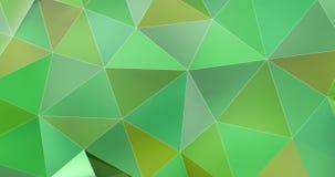 τρισδιάστατος ζωηρόχρωμος πράσινος αφηρημένος γεωμετρικός βρόχος υποβάθρου κινήσεων επιφάνειας πολυγώνων 4k ελεύθερη απεικόνιση δικαιώματος