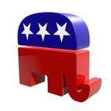 τρισδιάστατος δημοκρατικός ελέφαντας που απομονώνεται σε ένα άσπρο υπόβαθρο Στοκ Φωτογραφίες