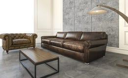 τρισδιάστατος καναπές δέρματος απόδοσης καταπληκτικός στο καθιστικό σοφιτών Στοκ φωτογραφία με δικαίωμα ελεύθερης χρήσης