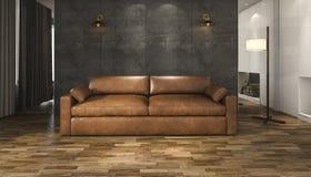 τρισδιάστατος καναπές δέρματος απόδοσης καφετής στο καθιστικό σοφιτών Στοκ Εικόνες