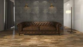 τρισδιάστατος καναπές δέρματος απόδοσης μεγάλος με το πάτωμα παρκέ Στοκ Φωτογραφία