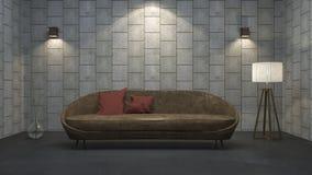 τρισδιάστατος καναπές δέρματος απόδοσης με το κόκκινο μαξιλάρι στο συγκεκριμένο δωμάτιο σύστασης Στοκ εικόνα με δικαίωμα ελεύθερης χρήσης