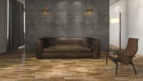 τρισδιάστατος καναπές δέρματος απόδοσης με το πάτωμα παρκέ Στοκ φωτογραφία με δικαίωμα ελεύθερης χρήσης