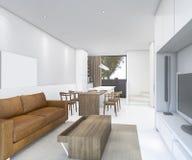 τρισδιάστατος καναπές δέρματος απόδοσης συμπαθητικός στο καθιστικό με να δειπνήσει το μετρητή Στοκ Εικόνα