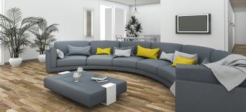 τρισδιάστατος καναπές καμπυλών απόδοσης όμορφος ζωηρόχρωμος με το σύγχρονο πάτωμα Στοκ Φωτογραφία