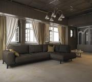 τρισδιάστατος καναπές υφάσματος απόδοσης μαύρος στο κλασικό δωμάτιο ύφους Στοκ Εικόνες