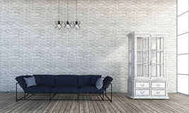 τρισδιάστατος καναπές ύφους σοφιτών απόδοσης στο άσπρο δωμάτιο τουβλότοιχος Στοκ Φωτογραφίες