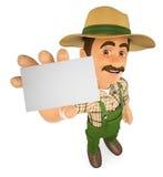 τρισδιάστατος κηπουρός που παρουσιάζει κενή κάρτα Στοκ εικόνες με δικαίωμα ελεύθερης χρήσης