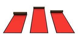 τρισδιάστατος: Κυλημένο κόκκινο χαλί Στοκ Εικόνες