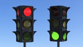 τρισδιάστατος κόκκινος και πράσινος φωτεινός σηματοδότης απεικόνισης Στοκ Φωτογραφία