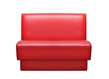 τρισδιάστατος κόκκινος καναπές δέρματος εικόνας εσωτερικός Στοκ Εικόνες