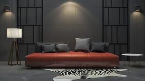 τρισδιάστατος κόκκινος καναπές απόδοσης στο σκοτεινό δωμάτιο Στοκ Εικόνες