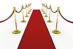 τρισδιάστατος: Κόκκινο χαλί με τους ορθοστάτες για τη πρεμιέρα κινηματογράφων Στοκ Εικόνες