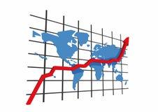 τρισδιάστατος κόσμος στατιστικών χαρτών Στοκ Φωτογραφία