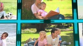 τρισδιάστατος κύβος με τα βίντεο για την οικογένεια απόθεμα βίντεο