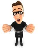 τρισδιάστατος κλέφτης κάτω από τη σύλληψη και δεμένος με χειροπέδες Στοκ εικόνα με δικαίωμα ελεύθερης χρήσης