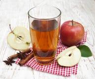 τρισδιάστατος μήλων φυσικός διαφανής χυμού εικόνας γυαλιού τροφίμων πτώσης μήλων εννοιολογικός Στοκ Φωτογραφίες