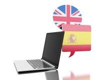 τρισδιάστατος μεταφράστε τα ισπανικά και αγγλικά με το φορητό προσωπικό υπολογιστή Στοκ φωτογραφία με δικαίωμα ελεύθερης χρήσης