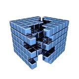 τρισδιάστατος μπλε κύβος Στοκ Εικόνες