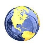 τρισδιάστατος: Μπλε υαλώδης άποψη γήινων σφαιρών της Βόρειας Αμερικής Στοκ Φωτογραφίες