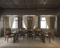 τρισδιάστατος να δειπνήσει απόδοσης πίνακας με τα τρόφιμα και φρούτα στο κλασικό δωμάτιο ύφους Στοκ Εικόνες