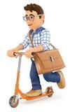 τρισδιάστατος νεαρός άνδρας που πηγαίνει να εργαστεί σε ένα μηχανικό δίκυκλο λακτίσματος Στοκ Εικόνα