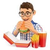 τρισδιάστατος νεαρός άνδρας που τρώει ένα χάμπουργκερ με τα τηγανητά και το ποτό Γρήγορο φαγητό Στοκ Εικόνες