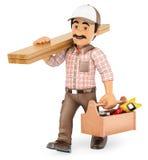 τρισδιάστατος ξυλουργός που περπατά με τον ξύλινους πίνακα και την εργαλειοθήκη Στοκ Εικόνα