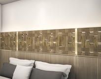 τρισδιάστατος ξύλινος τοίχος απόδοσης επάνω από το κρεβάτι με το οδηγημένο φως Στοκ Εικόνες