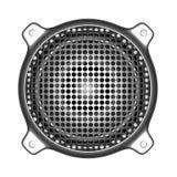 τρισδιάστατος ομιλητής μετάλλων με τα deejay εργαλεία του DJ ηχητικών συστημάτων σχαρών Στοκ Εικόνες