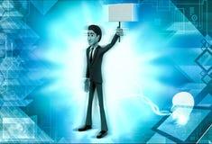 τρισδιάστατος πίνακας σημαδιών εκμετάλλευσης χαρακτήρα σε μια απεικόνιση χεριών Στοκ φωτογραφία με δικαίωμα ελεύθερης χρήσης