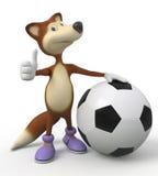 τρισδιάστατος ποδοσφαιριστής αλεπούδων Στοκ Φωτογραφία