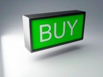 τρισδιάστατος πράσινος αγοράζει το κουμπί Στοκ Εικόνες