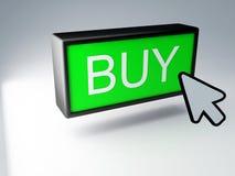 τρισδιάστατος πράσινος αγοράζει το κουμπί Στοκ εικόνα με δικαίωμα ελεύθερης χρήσης
