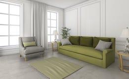 τρισδιάστατος πράσινος καναπές απόδοσης στο διάστημα σοφιτών Στοκ Εικόνα