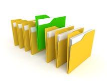 τρισδιάστατος πράσινος φάκελλος μεταξύ κίτρινου ελεύθερη απεικόνιση δικαιώματος