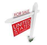 τρισδιάστατος: Σημάδι ακίνητων περιουσιών: ΗΠΑ για την πώληση Στοκ φωτογραφία με δικαίωμα ελεύθερης χρήσης