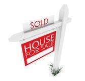 τρισδιάστατος: Σημάδι ακίνητων περιουσιών: Σπίτι που πωλείται Στοκ Φωτογραφίες